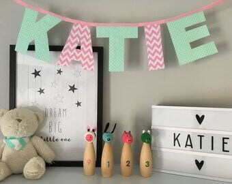 Personalised Mint Green and Pink Girl Name Bunting