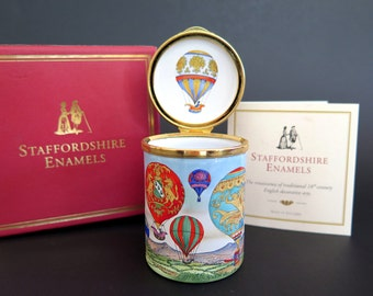 Vintage Staffordshire Enamel Pill Box Hot Air Balloons Hand Painted Artist Signed NIB Free Shipping in U.S.