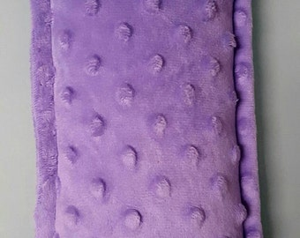 Minky therapeutic rice or corn pillows can be used as cold packs or heating pads