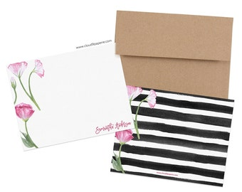 Set of 25 Custom Note Cards, Pink Floral Personalized Stationery, Custom Stationery, Floral Flat Note Card Set, Boxed Stationery NC007