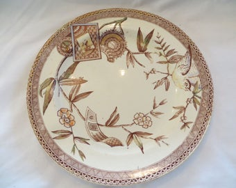 19th C Aesthetic Period Hand Colored Transferware Plate
