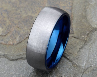 Mens Tungsten Wedding Band 8mm Blue Ring Brushed