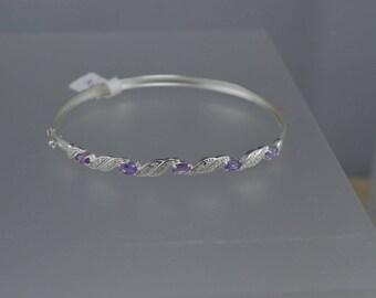 Amethyst Sterling Silver Bracelet, Natural Gemstone, Bangle Bracelet, February Birthstone