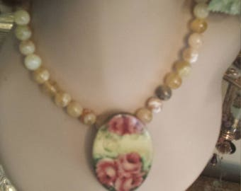 mossy jasper necklace with vintage rose oval pendant