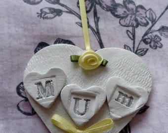 Clay Mothers Day Heart, Handmade, Hanging, Present, Mum, Ribbon and Embellishments, Sunday, Gift, Unique, Rose flower, keepsake.