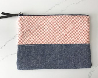 Large clutch/ cosmetics bag HANDMADE