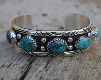 Natural Turquoises .925 Sterling Silver cuff Bracelet Handmade Native American Inspired.