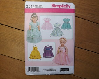 Simplicity Doll Clothes pattern #3547 18 inch doll clothes pattern one size sewing pattern-doll clothes sewing pattern
