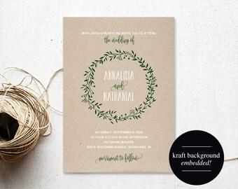 Wedding Invitation Template, Winter Wedding Invitation, Forest Green Wedding Invitation, Wedding Printable, PDF Instant Download #BPB221_1
