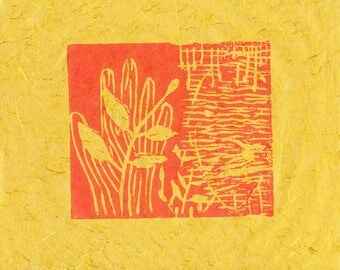 Linocut on yellow paper