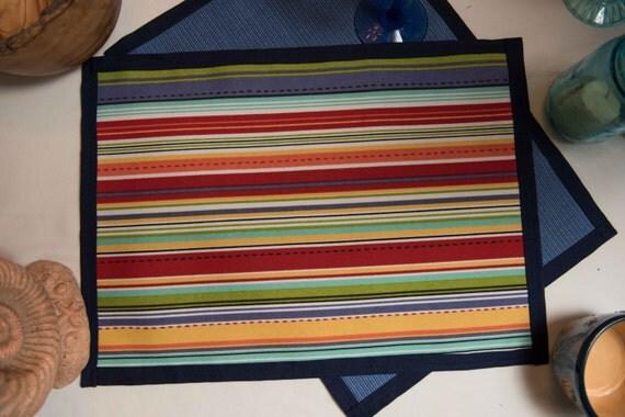 Handmade Indoor/Outdoor Fiesta Stripe Placemat Set