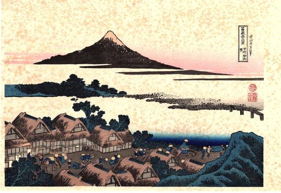 "Japanese Ukiyo-e Woodblock print, Katsushika Hokusai, ""Dawn at Isawa in Kai Province, Thirty-six Views of Mount Fuji"""