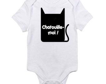 "Bodysuit / onesie 100% cotton white unisex, black screen printed bodysuit ""Tickle Me"", baby onesie original, trendy baby clothes"