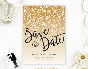 Gold and black wedding save the dates printed on luxury cardstock | Sparkle Save The Date Cards | New Years Eve wedding