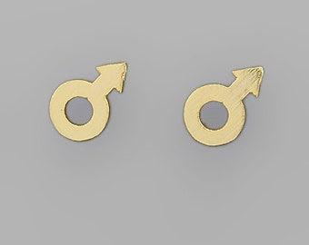 Gold Mars Symbol Stud Earrings