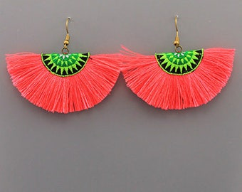 Neon Coral Tassel Fan Earrings