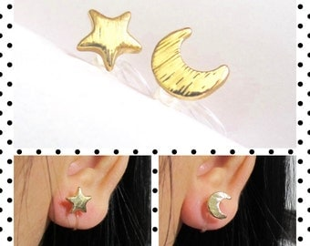 Moon Star Clip-on earrings C49S Non Pierced earrings, Invisible clip on earrings, Clip-on stud earrings, bridesmaid gift clip on earrings