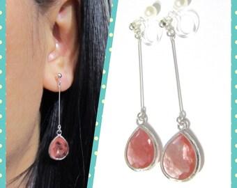 Cherry Quartz Drop Clip-on Dangle earrings |7F| 925 Silver Thin Bar Bridal Wedding Clip Earrings Crystal Clip-ons Rhinestone Clip Earrings