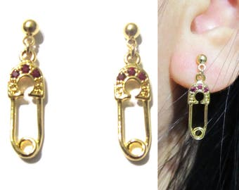 Petit Safety Pin Clip-On Earrings |21D| Ruby Pink CZ Crystal Gold Clip on earrings Dangle clip on earrings Modern Trendy Clip on earrings