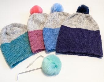 Hand knit hat, winter hat, wool hat, pom  pom hat, chunky hat, beanie hat, slouchy hat, Icelandic wool, Lopi yarn, hat for woman