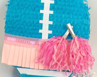 Gender Reveal Football/Cheerleader Theme Pinata Available as Pull Strings or Whack Pinata