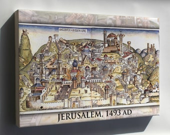 Canvas 24x36; Jerusalem From Nuremberg Chronicles 1493
