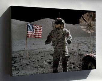 Canvas 24x36; Apollo 17 Astronauts Eugene Cernan