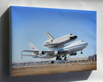 Canvas 24x36; Boeing 747 With The Space Shuttle Endeavour