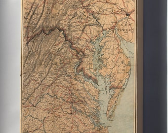 Canvas 16x24; Map Of Eastern Virginia 1863
