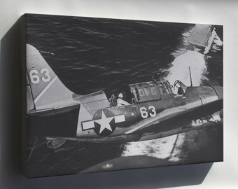 Canvas 16x24; Helldiver Sb2C 1C On Approach Yorktown Cv10