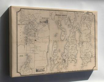 Canvas 16x24; Map Of Newport County, Rhode Island 1850