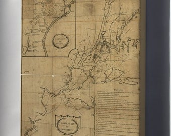 Canvas 16x24; Map Of Campaign Of 1776 New Jersey New York City American Revolution 1780