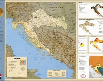 16x24 Poster; Cia Summary Map Of Croatia 1996