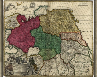 16x24 Poster; Map Of Western Russia 1704