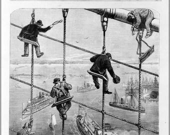 16x24 Poster; Building The Brooklyn Bridge