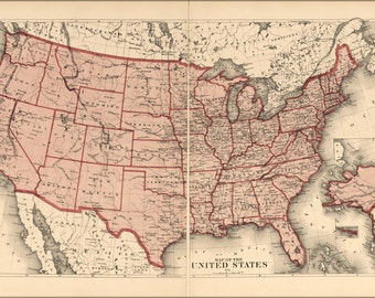 16x24 Poster; Map Of The United States 1875