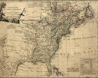 16x24 Poster; Map Of The United States Of America 1785 In French