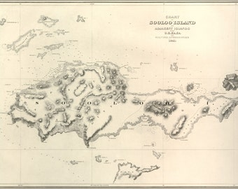 16x24 Poster; Chart Map Of  The Sooloo Sea And Adjacent Islands 1841