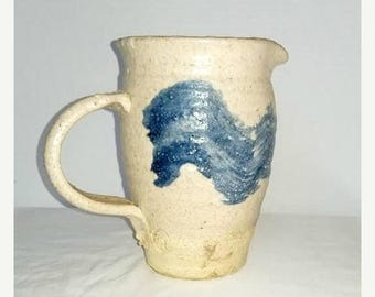 Vintage Pottery Pitcher,Salt Glazed Pitcher,Stoneware Pitcher,Artist Stamped,Cream,Blue,Water Pitcher,Handmade Pottery PItcher,Pitcher Vase