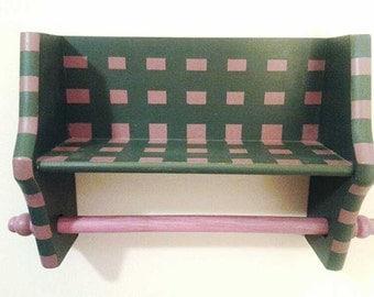 Small Wood Shelf, Combo Shelf and Papertowel Holder, Dark Green and Pink, Wood Kitchen Decor, Wood Wall Decor, Distressed Shelf, Shabby Chic