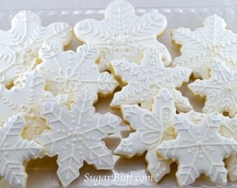 Snowflake Cookies - One dozen sparkly unique snowflake decorated cookies