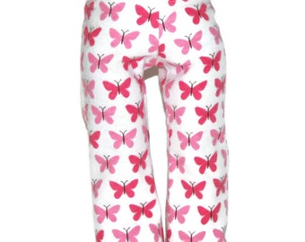 """Pink Butterfly Flannel Pajama Bottoms - Doll Clothes fits 18"""" American Girl Dolls"""
