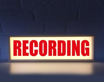 Recording sign with red letters - Lightbox recording - lighted sign recording - Light box recording - on air sign