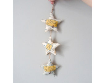 Your A Star! Yellow and Blue Star Wall Hanging Decoration. Fabric Stars. New Home, Thankyou or Friendship Gift. Fabric Door Hanger