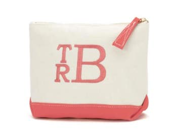Personalized Cosmetic Bag make up case monogram + accessory bag + zippered pouch + travel bag