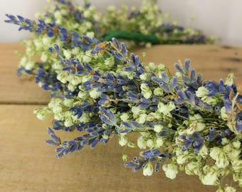 Dried Lavender and Babys breath crown, Dried flower crown, Flower crown, Wedding crown, photo prop, Dried flowers, Boho crown, Lavender