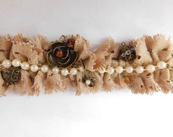 Burlap Adult Headband with Pearl Strip and Bronze Accents