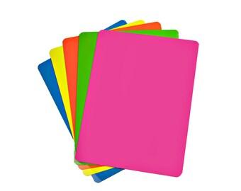"Fluorescent Neon Dry Erase Magnet Sheets - 9"" X 12"" - 5 Sheets - Multiple Colors"
