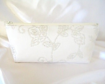 Beaded Satin Clutch - Ivory Satin Clutch - Bridesmaid Makeup Bag - Wedding Clutch -  Bridesmaid Clutch - Bridal Clutch - Brides Purse