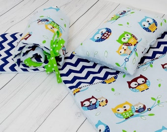 Minky Crib Bedding Set,Minky Set,Quilt Bumper Pillows Cushions,Owls Chevrons Baby Blue,New Baby Gift, Nursery Decor,Unique Baby Shower Gift